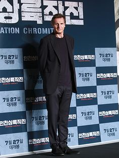 Operation Chromite star Liam Neeson attends a press conference for his new film on Wednesday in Seoul, Korea.