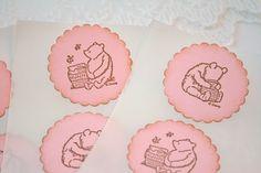 Winnie the Pooh Stickers Girl Baby Shower by SeasonalDelightsBaby, $7.50