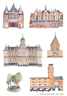 Historical buildings of Amsterdam by Sanny van Loon | Illustration | watercolor & ink