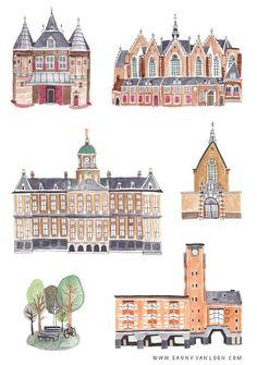 Historical buildings of Amsterdam by Sanny van Loon   Illustration   watercolor & ink