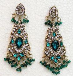 Indian Antique Polish Chandelier Dangl Earring Green
