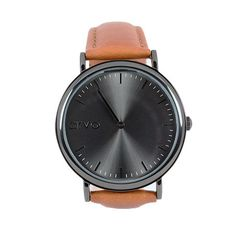 Real Leather Black unisex watch, Black minimalist watch with Brown band - 11 Main