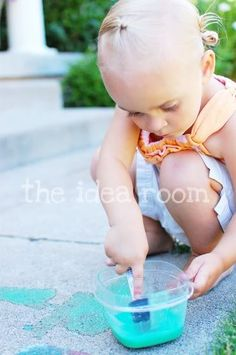 """sidewalk chalk paint:  We made some SUPER easy Sidewalk Paint the other day when the summer """"boredom"""" hit. I have seen this all over the net and we finally got around to making it."""