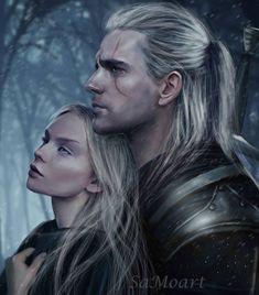 Geralt and Ciri by SaMo-art on DeviantArt Elves Fantasy, Fantasy Art Men, Fantasy Romance, Dark Fantasy, Ciri Witcher, The Witcher Geralt, Witcher Art, The Witcher Series, The Witcher Books