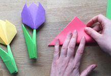 Jednoduchý návod, ako poskladať origami tulipány z farebného papiera. Zvládnu to aj deti! Origami, Diy Tutorial, Triangle, Templates, Handmade, Crafts, Leto, Tutorials, Spring