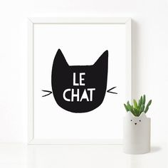 Le Chat poster, feline print, nursery printable wall art, Scandinavian print, nursery decor, nursery art, kids poster. Printable artwork is a beautiful, quick and cost effective way of updating your art ✨. • Instant download ⚡️ • High quality PDF and JPEG files • Sizes 8 x10 •