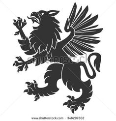 Black Standing Griffin For Heraldry Or Tattoo Design Isolated On White Background