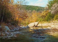 Realistic Landscape Oil Paintings   realistic Texas Hill Country stream scene landscape oil painting by ...