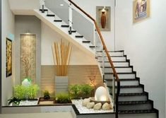 21 Inspiring Under Stairs Pebble Garden Ideas -Get the inspiration you need to plan your own indoor pebble garden for under your staircase. Home Stairs Design, Interior Stairs, Design Your Home, Apartment Interior, Interior Livingroom, Stair Design, Window Design, Under Staircase Ideas, Staircase Lighting Ideas