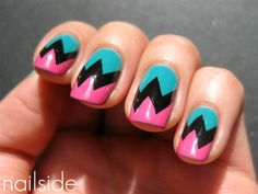 Could use our SKY BLUE, JET BLACK and HOTPINK nail art powders to do this funky design!    Available from www.thenailartist.co.uk