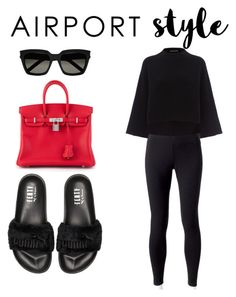 """""""Off to the airport✈️"""" by rhesaafia ❤ liked on Polyvore featuring Puma, Jockey, Jaeger, Hermès and Yves Saint Laurent"""