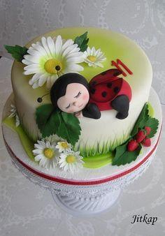 Beruška - Cake by Jitkap Fondant Cake Designs, Fondant Cakes, Cupcake Cakes, Fairy Birthday Cake, Baby Birthday Cakes, Ladybug Cakes, Baby Girl Cakes, Puppy Cake, Dessert Decoration