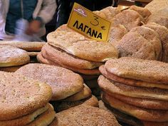Bread called Lagana, only to be eaten once a year, 40 days before Greek Orthodox Easter. That day is called Clean Monday or Pure Monday and people don't eat meat.