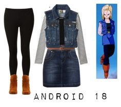 """""""Android 18"""" by cartoon-cutie ❤ liked on Polyvore featuring Uniqlo, Miss Selfridge, Jane Norman, Zara, Roxy, John Lewis, Dreams Footwear, android 18, dragon ball z and dbz"""
