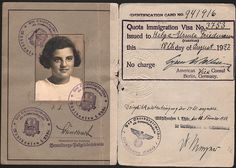 An immigration visa for a Jewish girl leaving Germany in 1937. A precious bit of paperwork indeed.