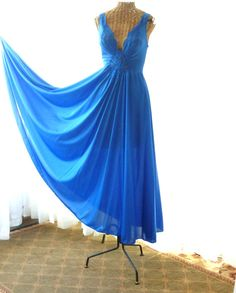 23ce32bb32d Olga Royal Blue Sweeping Nightgown 180 by Voilavintagelingerie