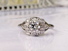 Antique Engagement Ring Old Transitional Cut Diamond Platinum Art Deco Ring Vintage Bridal Jewelry GIA Graduate Gemologist Appraisal!