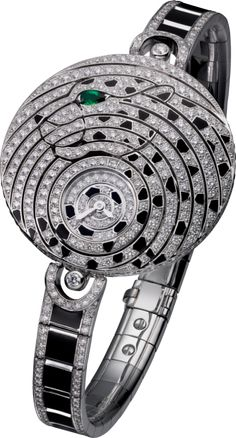 CRHPI00956 - High Jewelry visible hour watch - 18K white gold, lacquer, emerald, diamonds - Cartier