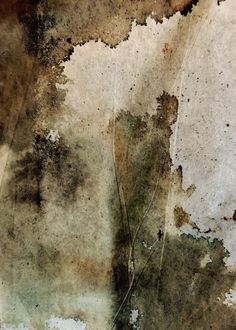 Abstract painting by Shirley Johnson. Mixed media, including rusty metal on paper