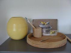 Houten dienblad en beker gemaakt door Bee Pee hout bouw