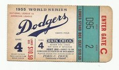 1952 World Series Ticket Brooklyn Dodgers vs NY Yankees Game 4 Let's Go Dodgers, Go Yankees, Ny Mets, Dodgers Baseball, New York Yankees, World Series Tickets, Dodger Game, Baseball Photos, Baseball Stuff