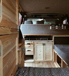 camper van interior in knotty pine and shades of gray Vw Lt Camper, Camper Diy, Rv Campers, Camper Trailers, Truck Camper, Camper Beds, Tiny Camper, Travel Trailers, Motorhome Interior