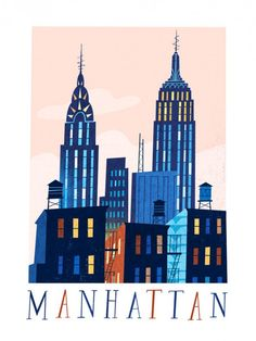 Travel Poster - Manhattan - New York - by Jamey Christoph. Building Illustration, Art Et Illustration, Medical Illustration, City Poster, New York Poster, Voyage New York, Manhattan Skyline, Nyc Skyline, Skyline Art
