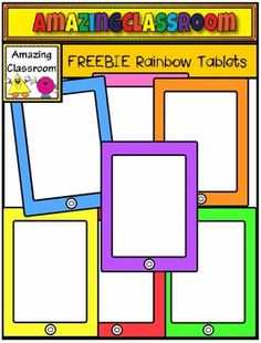FREE Rainbow Tablets Clip Art Set - These bright and colorful tablet images will look great for cover pages, task cards, worksheet activities, and all of your other teaching creations. Teacher Freebies, Classroom Freebies, Classroom Fun, Digital Paper Freebie, Digital Papers, Digital Scrapbooking, Digital Backgrounds, Speech Therapy Activities, Play Therapy