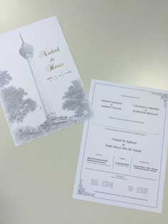Simple Malay wedding invitation card with KL Tower signature.. We designed the card ourselves
