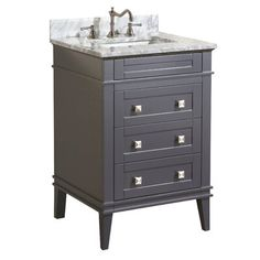 This bathroom vanity set by Kitchen Bath Collection includes a charcoal Gray cabinet with soft close drawers, Italian Carrara marble counter top, single under m 30 Inch Bathroom Vanity, 24 Inch Vanity, Small Bathroom Vanities, Grey Bathrooms, Bath Vanities, Bathroom Ideas, Downstairs Bathroom, Bathroom Interior, Oak Bathroom