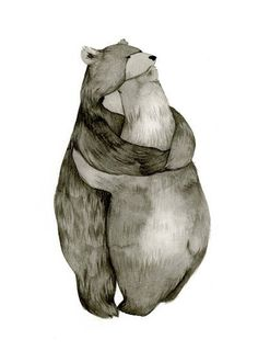 This really is the sweetest. :: Bear Hug Love Original Illustration Print by CatherineLazarOdell