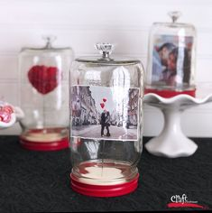 Make this: Love Under Glass Valentines Display made with Mason Jars!