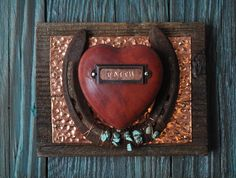 Faith Heart- copper, turquoise Rustic Cowboy Western Horseshoe Art, great western art, western gift or birthday gift, rustic western decor