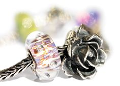 June flower bead - Rose and our Purple Rippling bubbles bead....beautiful combo. Trollbeads Canada