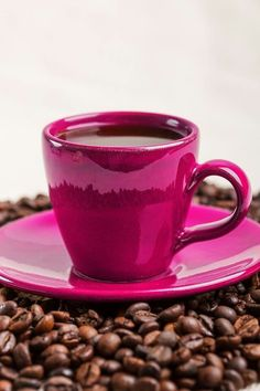 coffee in a hot pink cup