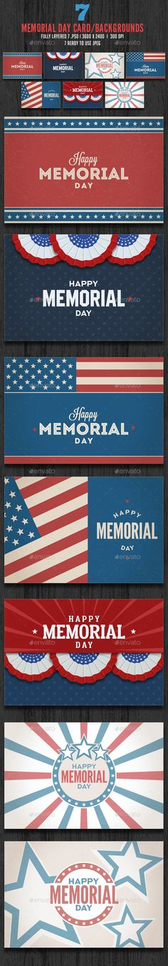 Memorial Day / July 4th Card #Backgrounds - Backgrounds #Graphics Download here: https://graphicriver.net/item/memorial-day-july-4th-card-backgrounds/19729726?ref=alena994