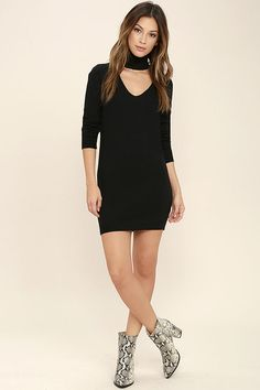 The Sweetest Devotion Black Turtleneck Sweater Dress is the answer to your casual cool needs! Soft and stretchy knit shapes a turtleneck with V-cutout, and relaxed sweater bodice. Long sleeves with ribbed cuffs and ribbed hem finish the look.