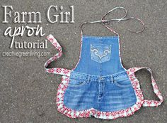 Make a cute apron from an old pair of jeans. Post includes detailed photos and instructions for how to make it.
