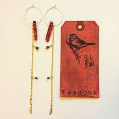 "Beautifully Intense Vampire Inspired Long Statement 7"" BLOOD Red Aura Quartz Hoop Dangle Earrings with Garnet & Agate TAKE FLIGHT by TakeFlightStudioWA on Etsy"