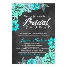 Blue floral chalkboard bridal shower invitation