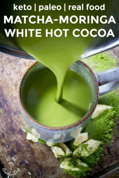 Adults and kids love this keto & paleo Matcha-Moringa White Hot Cocoa (aka Grinch Cocoa)! Full of antioxidants & just 7 real food ingredients! Low Carb Recipes, Real Food Recipes, Vegetarian Recipes, Drink Recipes, Paleo Food, Coffee Recipes, Paleo Diet, Dessert Recipes, Healthy Recipes