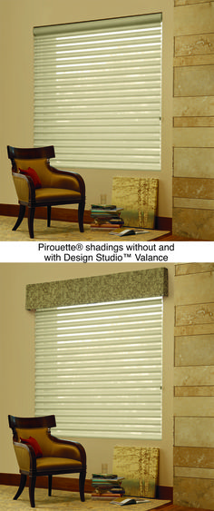 Add a decorative valance to elevate the style of any window.  Pirouette® window shadings with Design Studio™ valance ♦ Hunter Douglas window treatments #LivingRoom