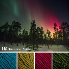 'Winter Northern Lights' color palette featuring Highland yarn in Peacock, Tundra, Chianti and Hemlock.