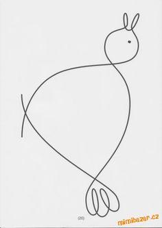 S dcerou jsme chodili do kroužku pro předškoláky a mimo jiné jsme procvičovali i tuhle tématiku na u... Quilting Templates, Quilting Designs, Animal Line Drawings, Line Doodles, Color Unit, Single Line Drawing, Barnyard Animals, Quilt Stitching, Free Motion Quilting