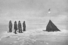 On December 14, 1911, Roald Amundsen, Helmer Hanssen, Sverre Hassel, Oscar Wisting (l-r) and Olav Bjaaland (taking the photo) of Norway became the first explorers to reach the South Pole.