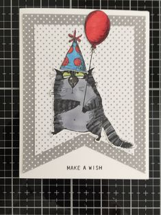 Cat Cards, Greeting Cards, Tim Holtz Stamps, Cool Birthday Cards, Make A Wish, Nye, Crazy Cats, Homemade Cards, Notebooks