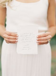 Tips on writing your own vows: If you want to write your own custom vows, we say go for it! These 10 tips are all you need to make it happen. Wedding Vows, Wedding Events, Our Wedding, Wedding Stuff, Dream Wedding, Wedding Decor, Weddings, Fall Wedding, Wedding Reception