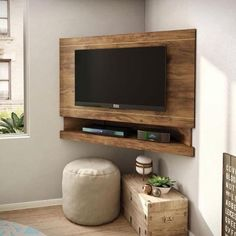 Endearing Corner Tv Mount Ideas For Your Interior Decor: 65 inch tv stand full motion tv mount rocketfish tv mount tv wall mount full motion 32 inch tv wall mount Tv Lateral, Corner Tv Mount, Tv Mounted In Corner, Corner Tv Stand Ideas, Wall Mounted Tv Console, Mount Tv, Corner Tv Cabinets, Tv Wanddekor, Modern Contemporary Living Room
