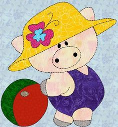 Piggy Applique Quilt Block template