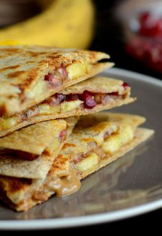 almond butter quesadillas with peanut butter and bananas on whole wheat tortillas. | 14 Breakfast Sandwiches That Prove Breakfast Is Better In Bread